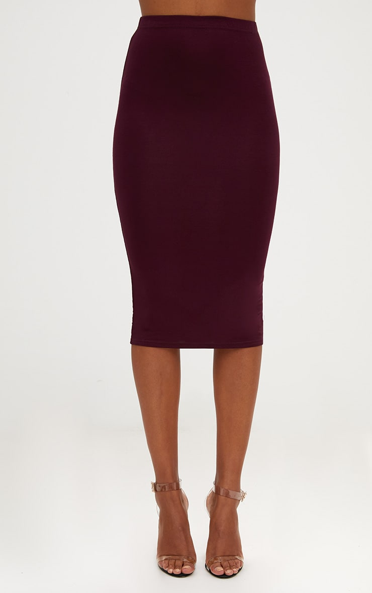 Plum/Charcoal 2 Pack Jersey Midi Skirt 5