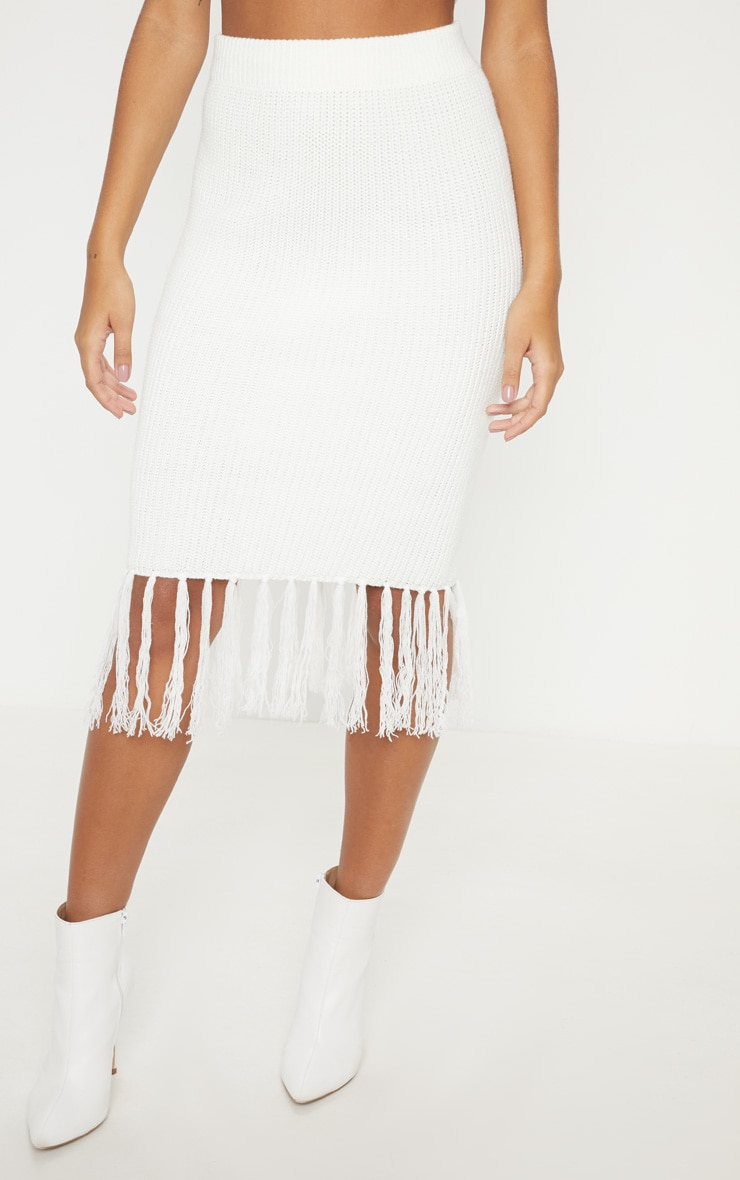 Cream Tassel Hem Knitted Midi Skirt  2