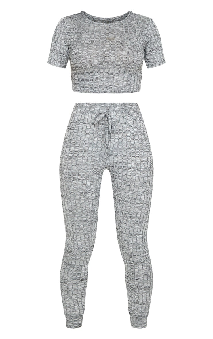 Grey Knitted Tee And Jogger Set 5