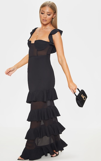fd5f08917a5 Black Structured Bodice Ruffle Detail Maxi Dress