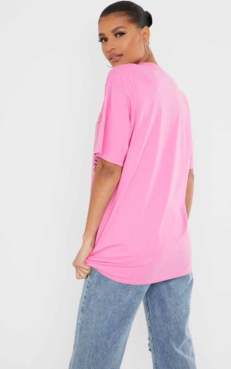 Fuschia Tokyo Symbol Printed T Shirt 2