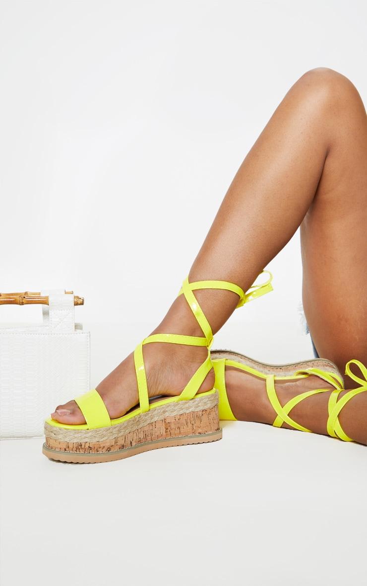 Yellow Neon Flatform Espadrille Sandal 1