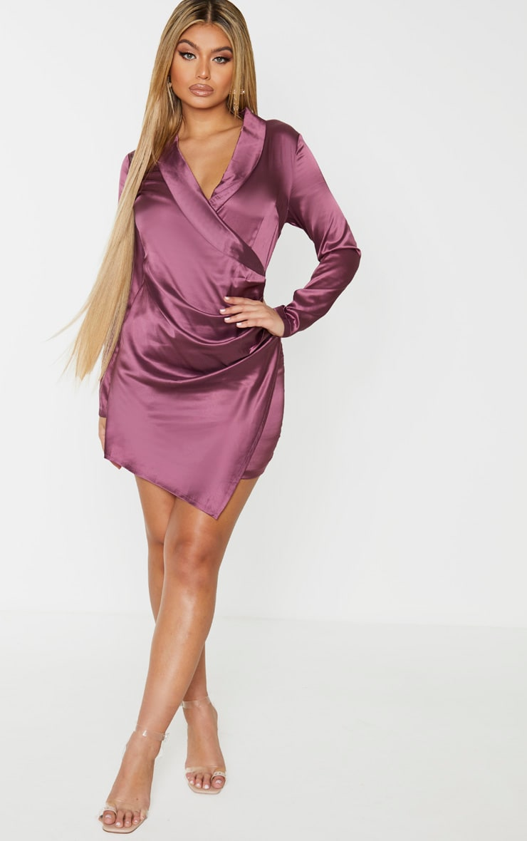 Mauve Satin Ruched Side Long Sleeve Bodycon Dress 4