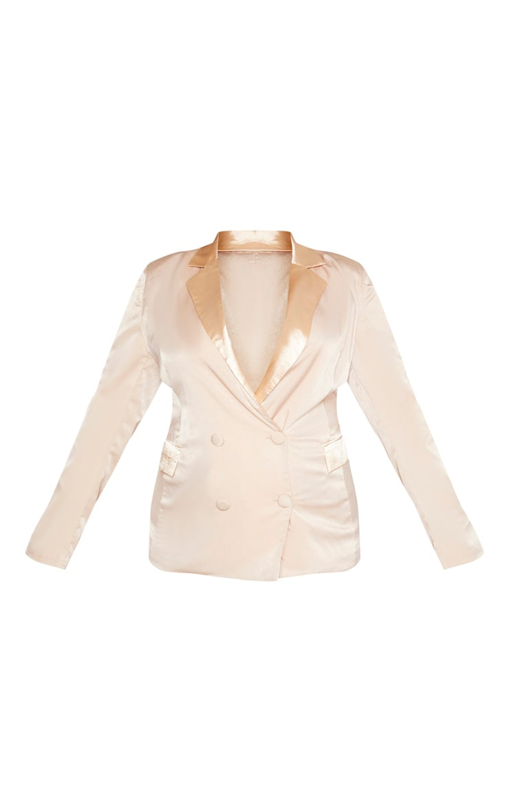Plus Champagne Longline Satin Mix Blazer 3