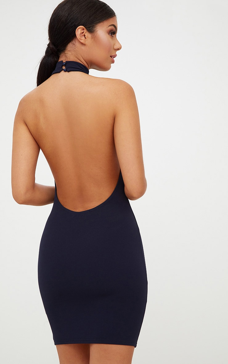 Navy High Neck Low Back Bodycon Dress 1