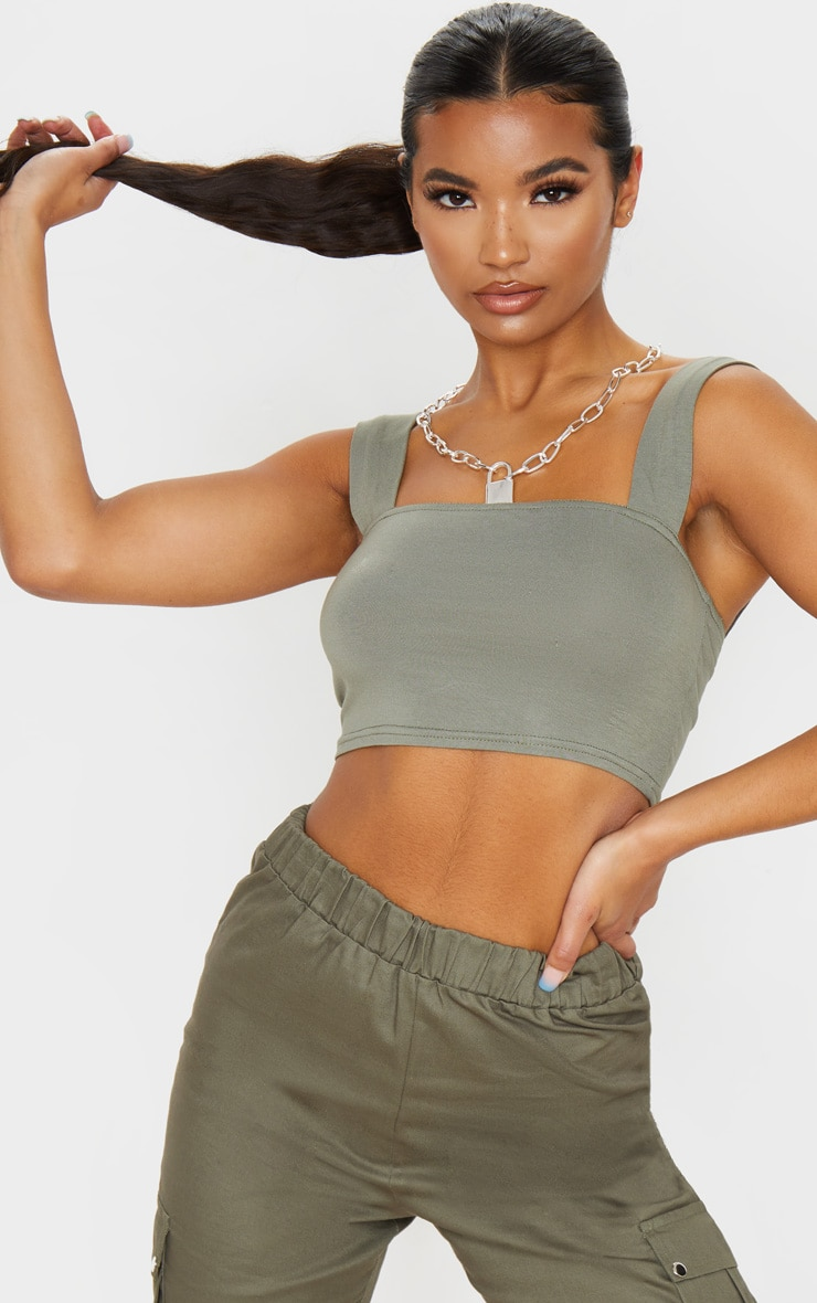 Khaki Jersey Strappy Cut Out Crop Top 2