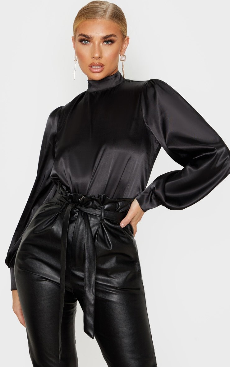 Black Satin High Neck Puff Sleeve Top 1