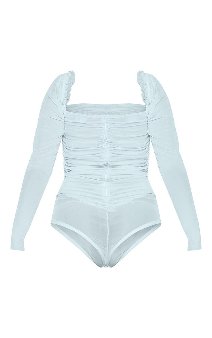 Pastel Blue Sheer Mesh Ruched Puff Sleeve Bodysuit 6