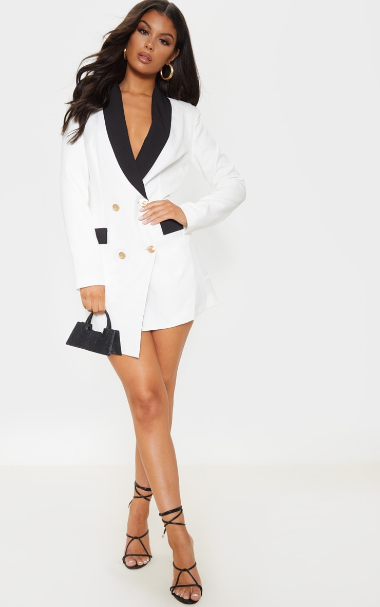 White Gold Button Contrast Blazer Dress