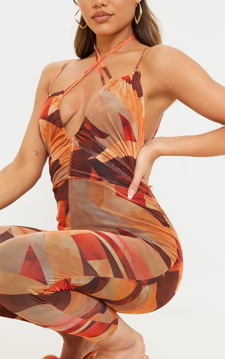 Orange Abstract Print Keyhole Mesh Jumpsuit 4
