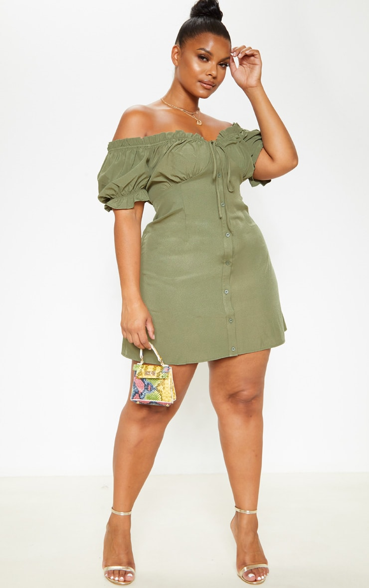 Plus Khaki Bardot Button Front Shift Dress  4