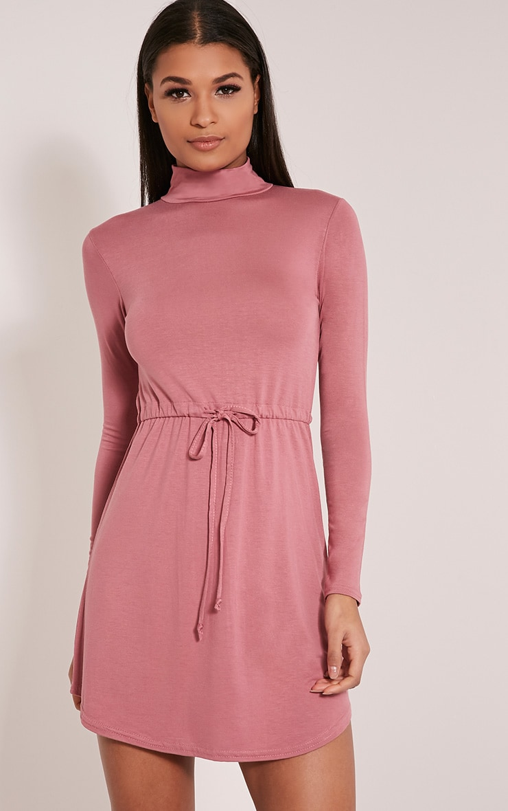 Halle Rose Tie Waist Long Sleeve Jersey Bodycon Dress 1
