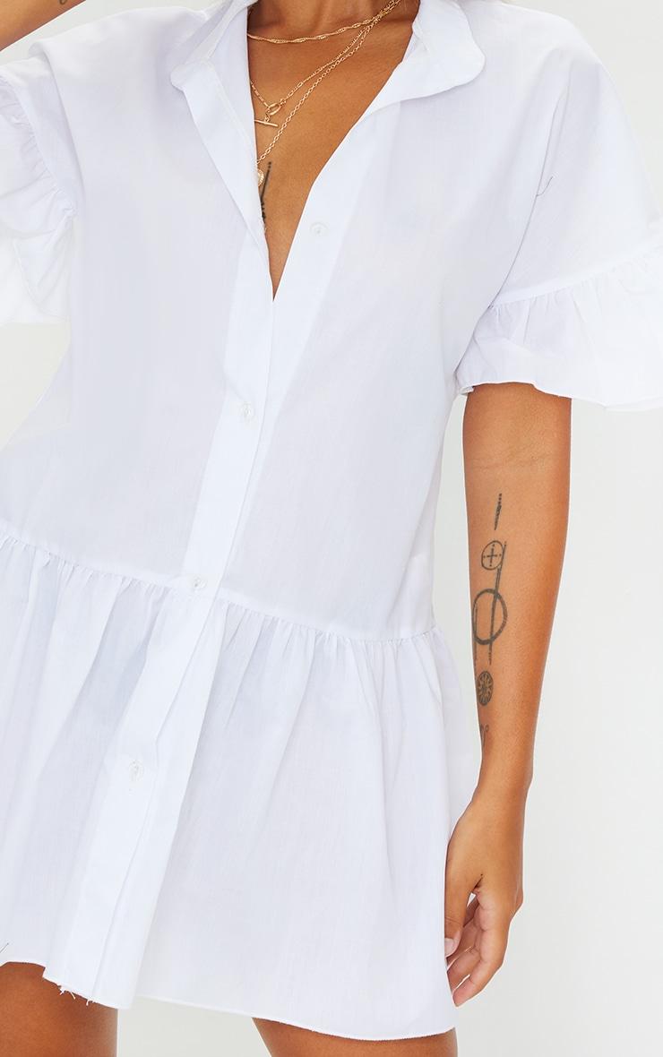 Petite White Drop Hem Short Sleeve Shirt Dress 4