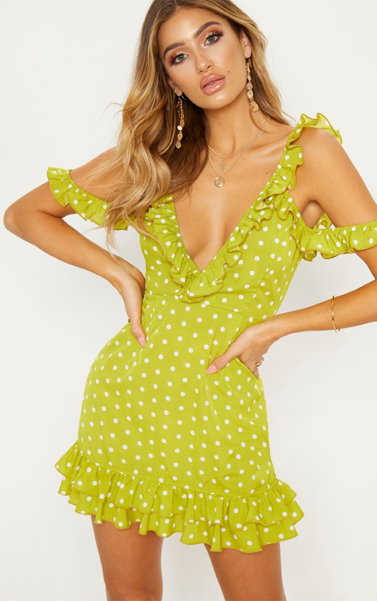 Lime Polka Dot Frill Hem Bodycon Dress