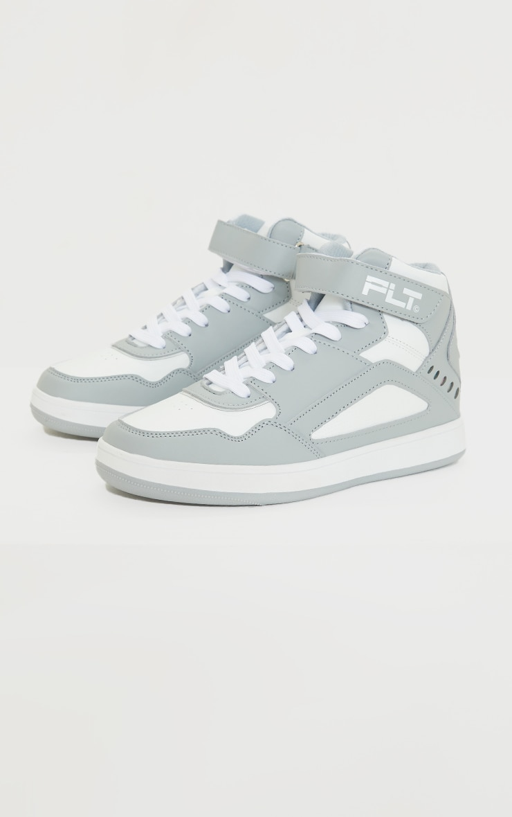 PRETTYLITTLETHING Grey Strap High Top Trainers 4