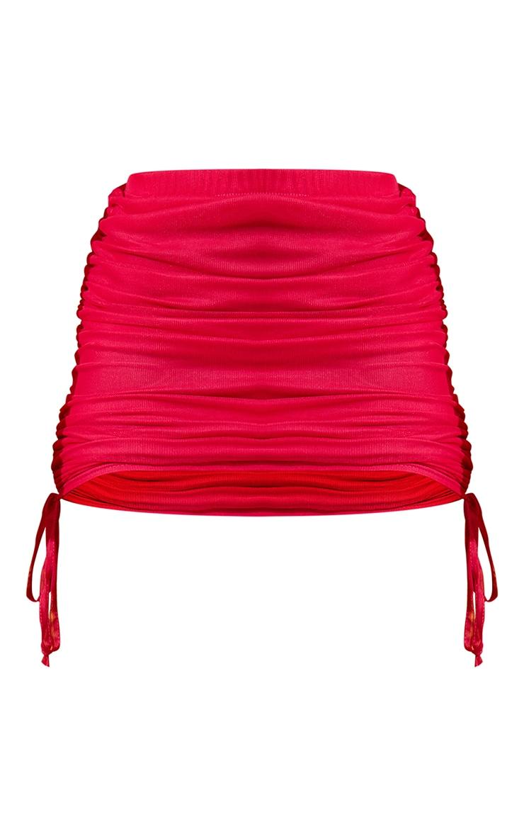Hot Pink Mesh Ruched Mini Skirt 7