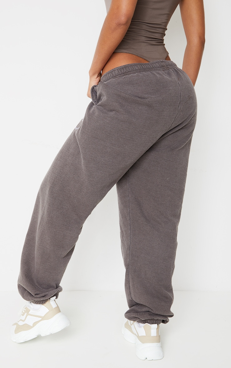 Brown Washed Health Club Embroidered Casual Joggers 3