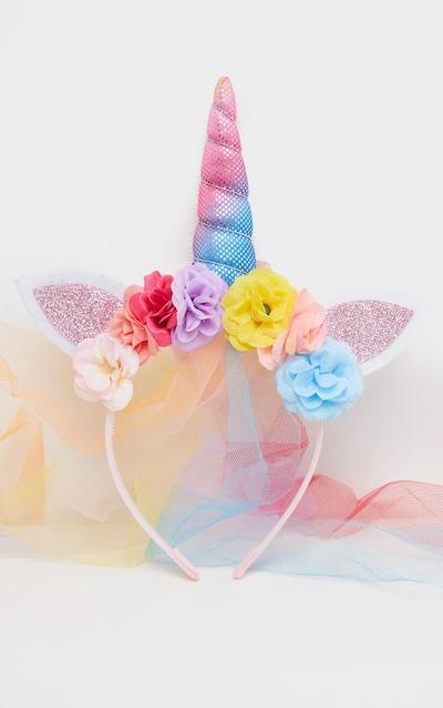 Rainbow Flower Unicorn And Veil Headband
