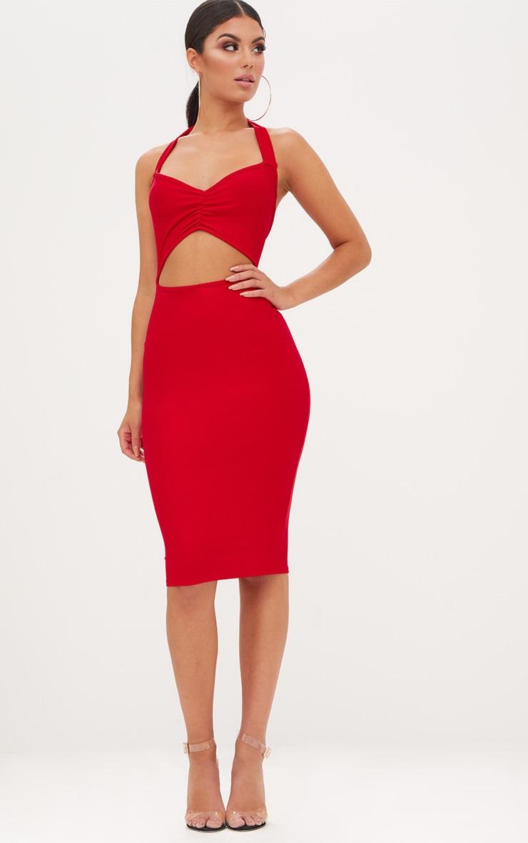 Red Halterneck Midi Dress 1