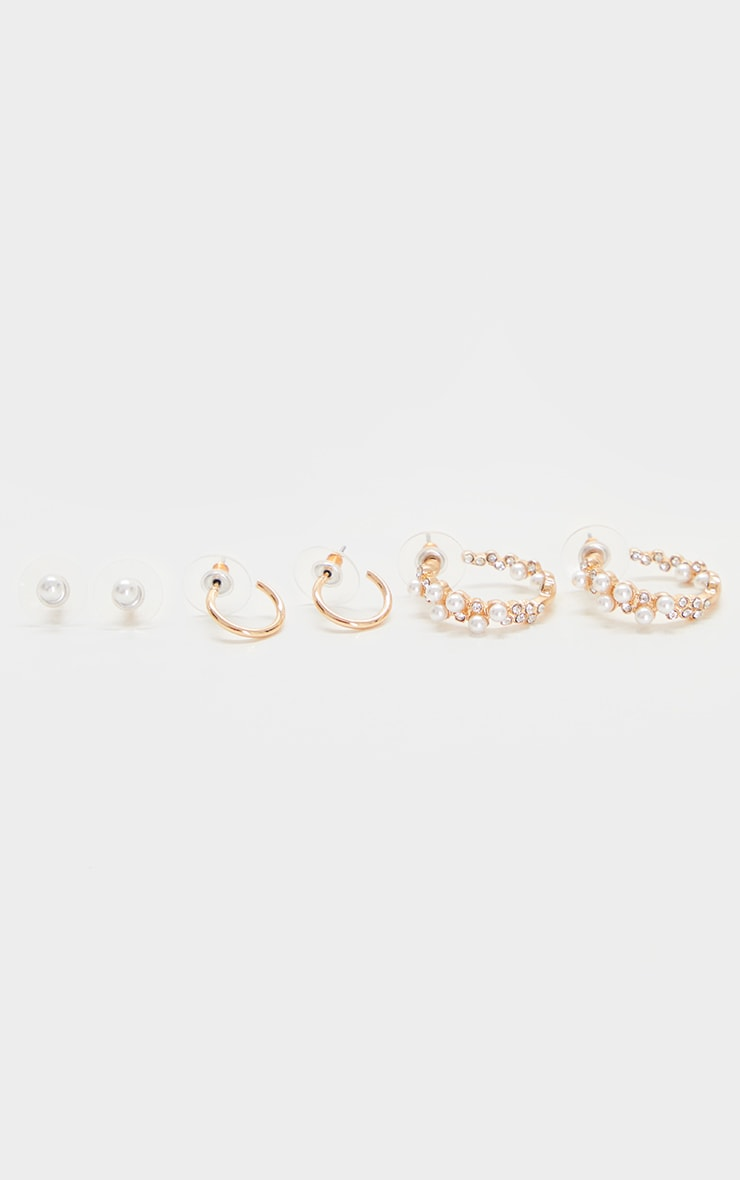 Gold Multi Pack Pearl Assorted Earrings 1