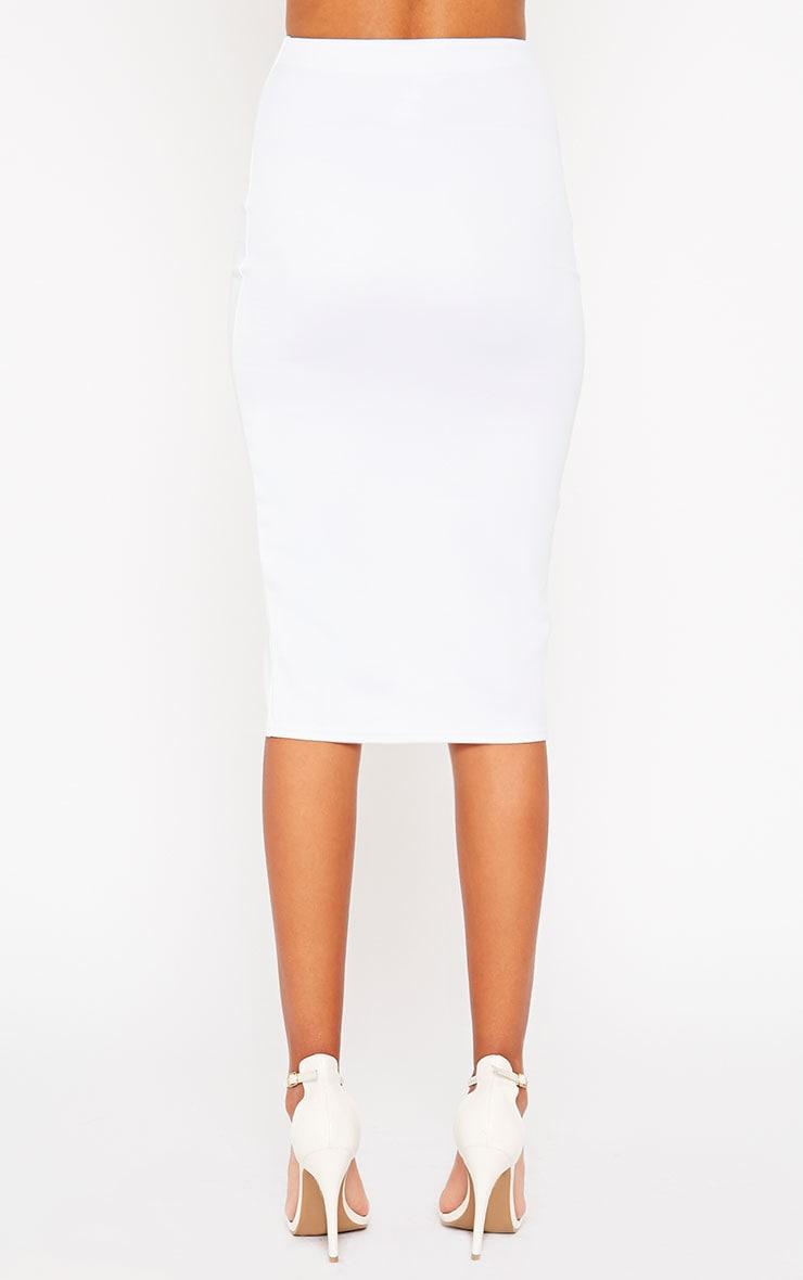 Siva White Split Front Scuba Midi Skirt 4