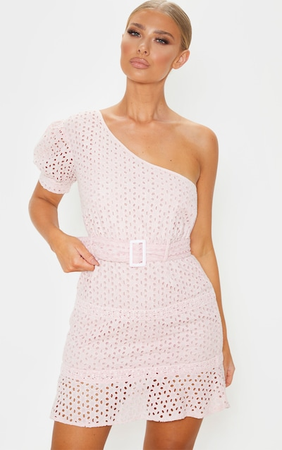 Dusty Pink Broderie One Shoulder Belted Bodycon Dress