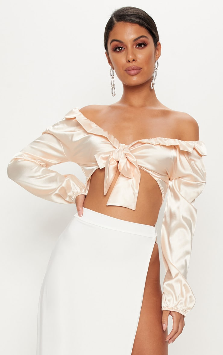 Nude Satin Tie Front Crop Blouse 1