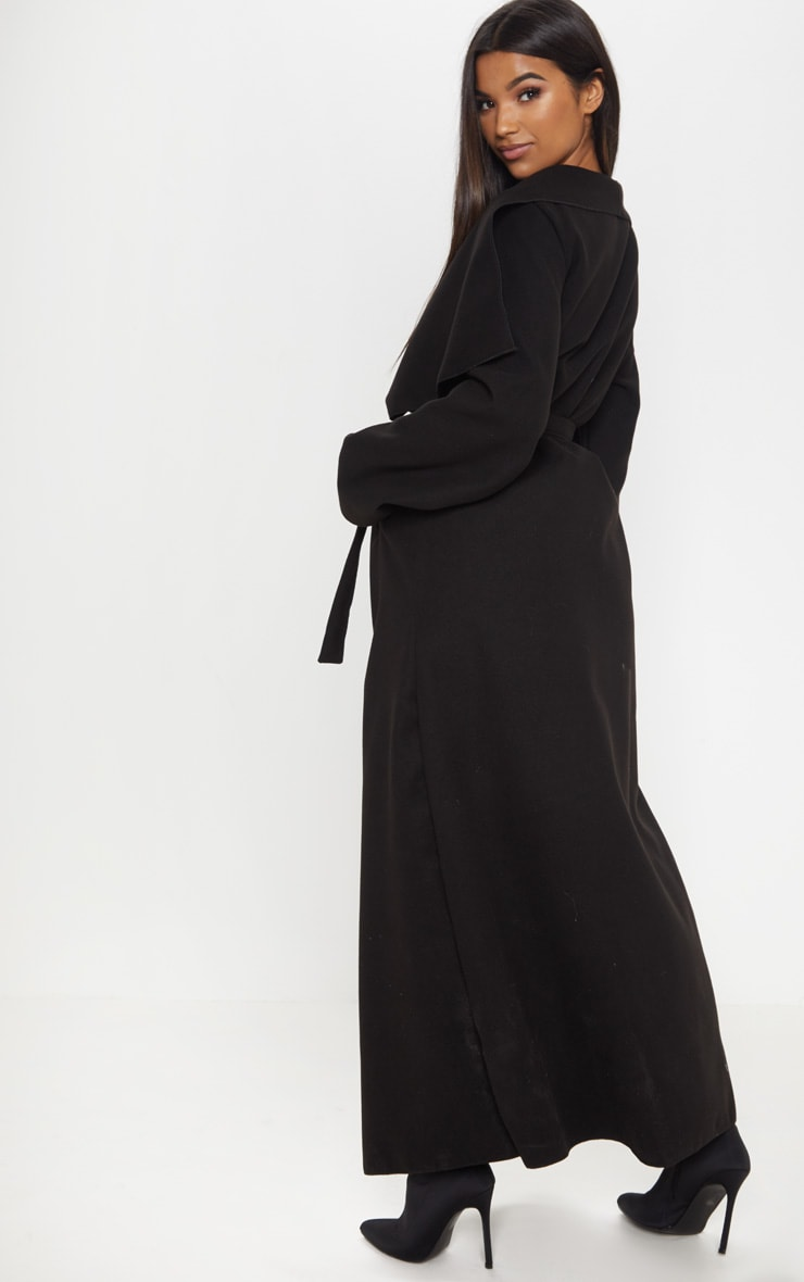 Black Maxi Length Oversized Waterfall Belted Coat 2