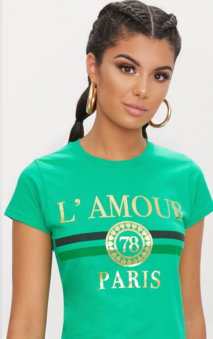 Green Lamour Slogan Foil Print Slogan Fitted T Shirt 5