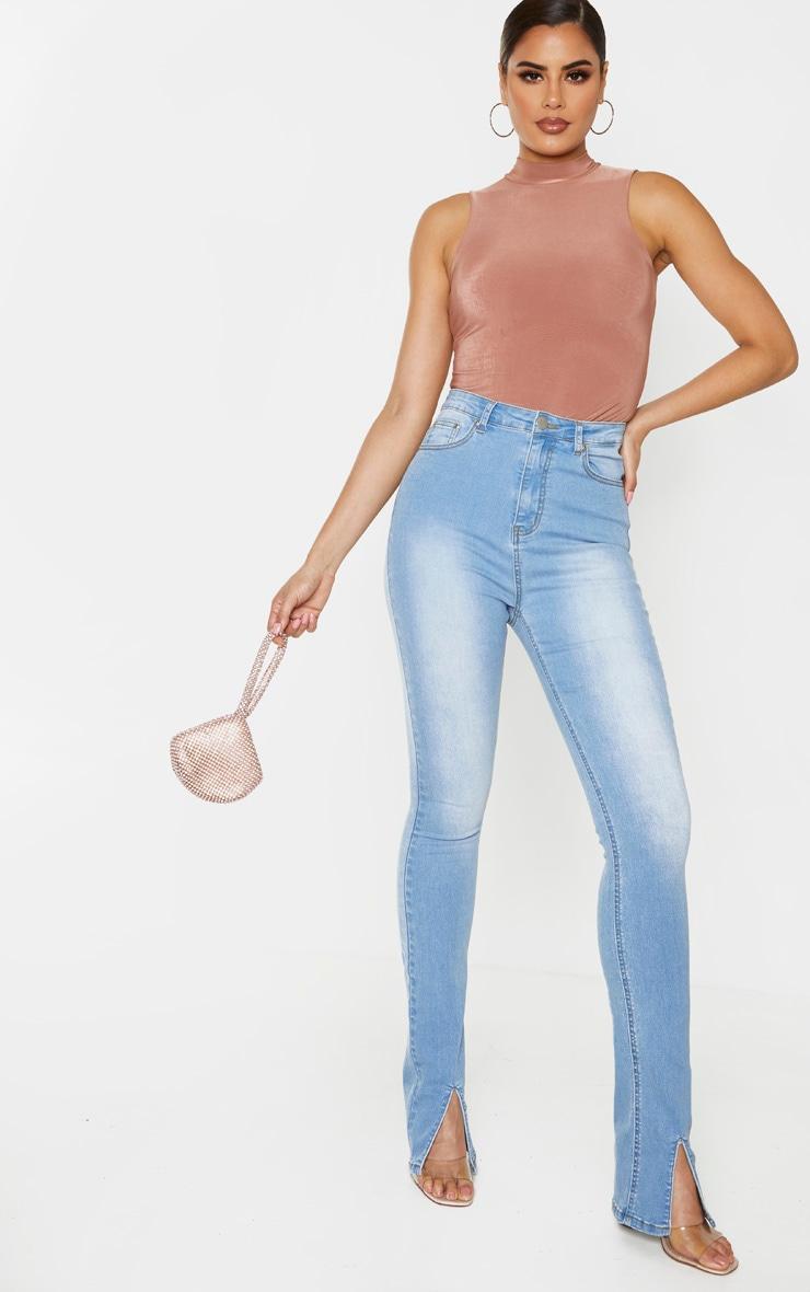 Tall Light Blue Wash Split Front Skinny Jeans 2