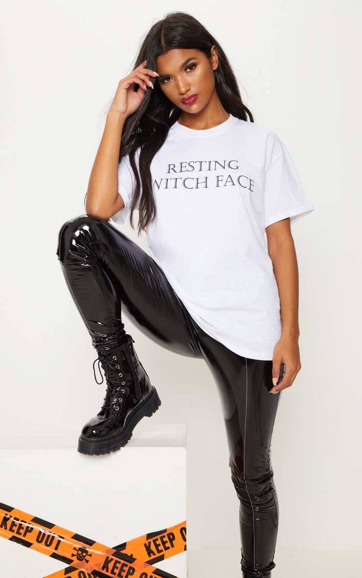 White Resting Witch Face Printed Oversized T shirt 1