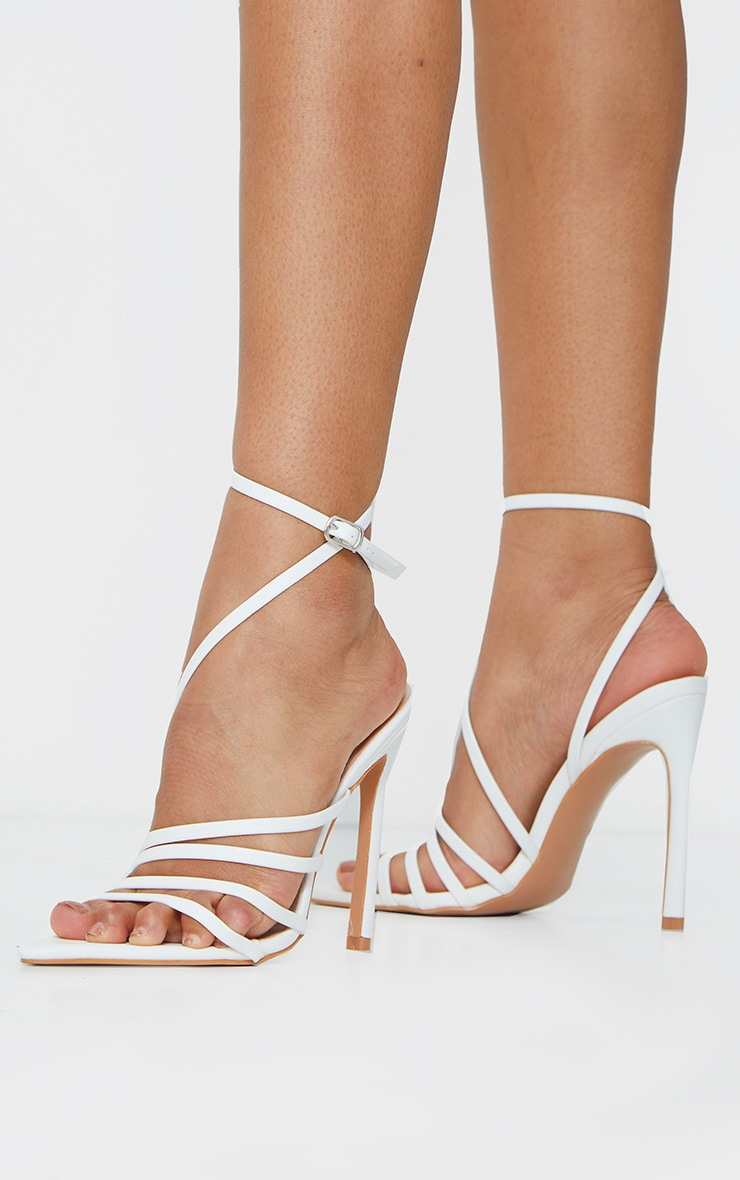 White Pointed Toe Multi Strap Asymmetric High Heels 2