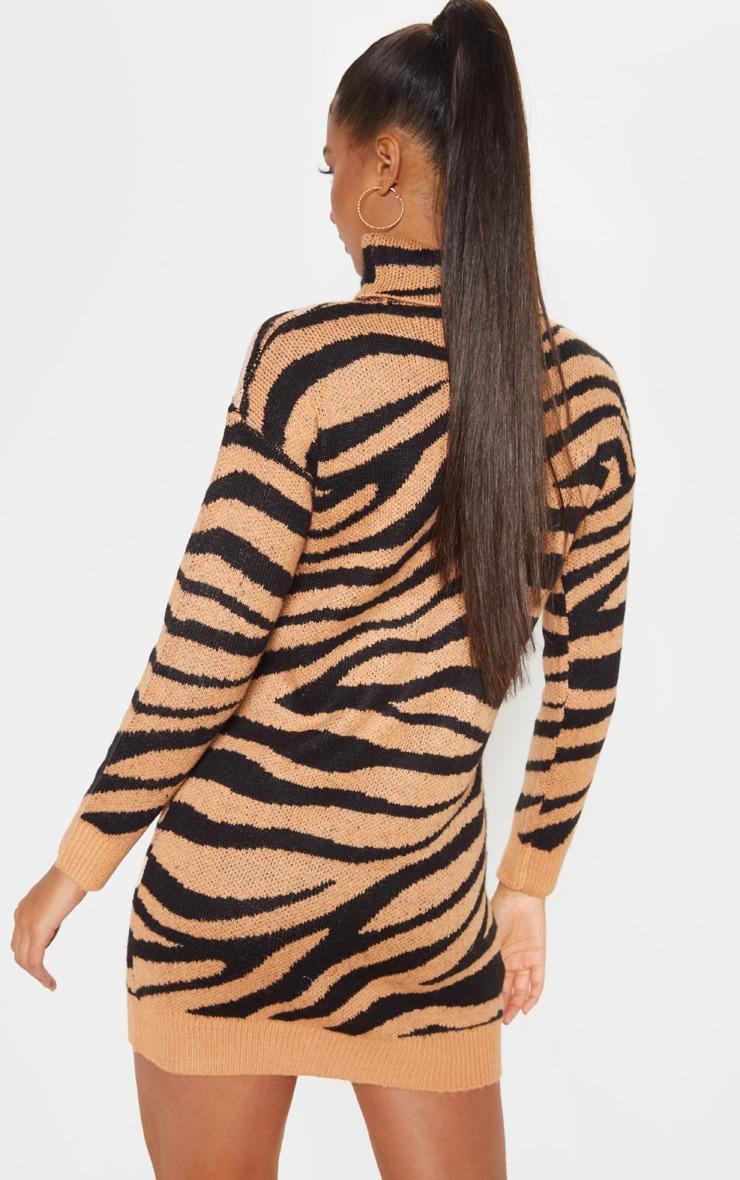 Camel Animal Print Jumper Dress 3