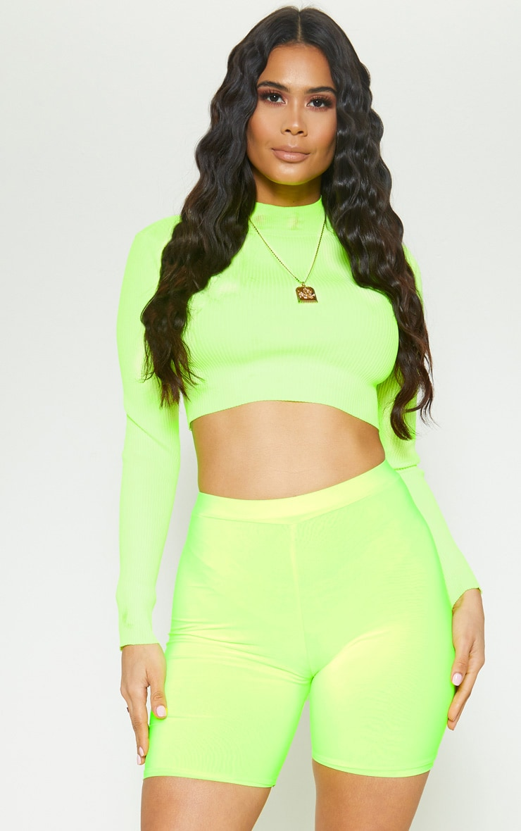 Neon Lime Slinky High Waisted Bike Shorts 1