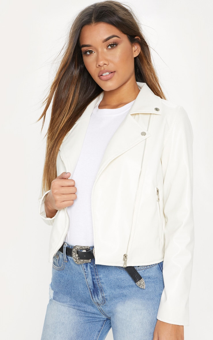 White PU Biker Jacket 1