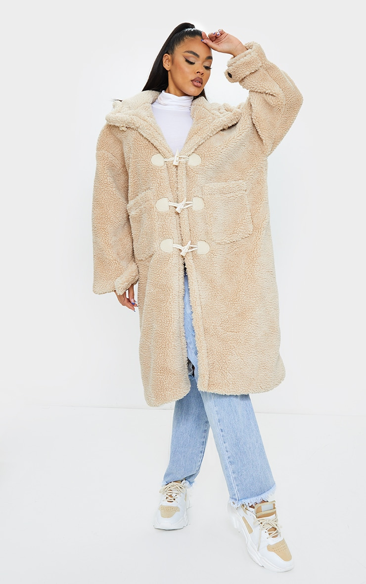 Sand Faux Fur Teddy Toggle Maxi Coat 3
