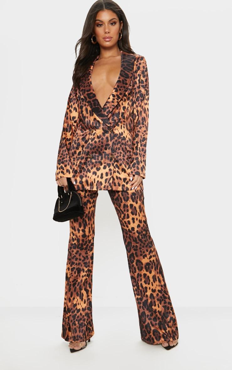 Tan Satin Leopard Wide Leg Trouser  1