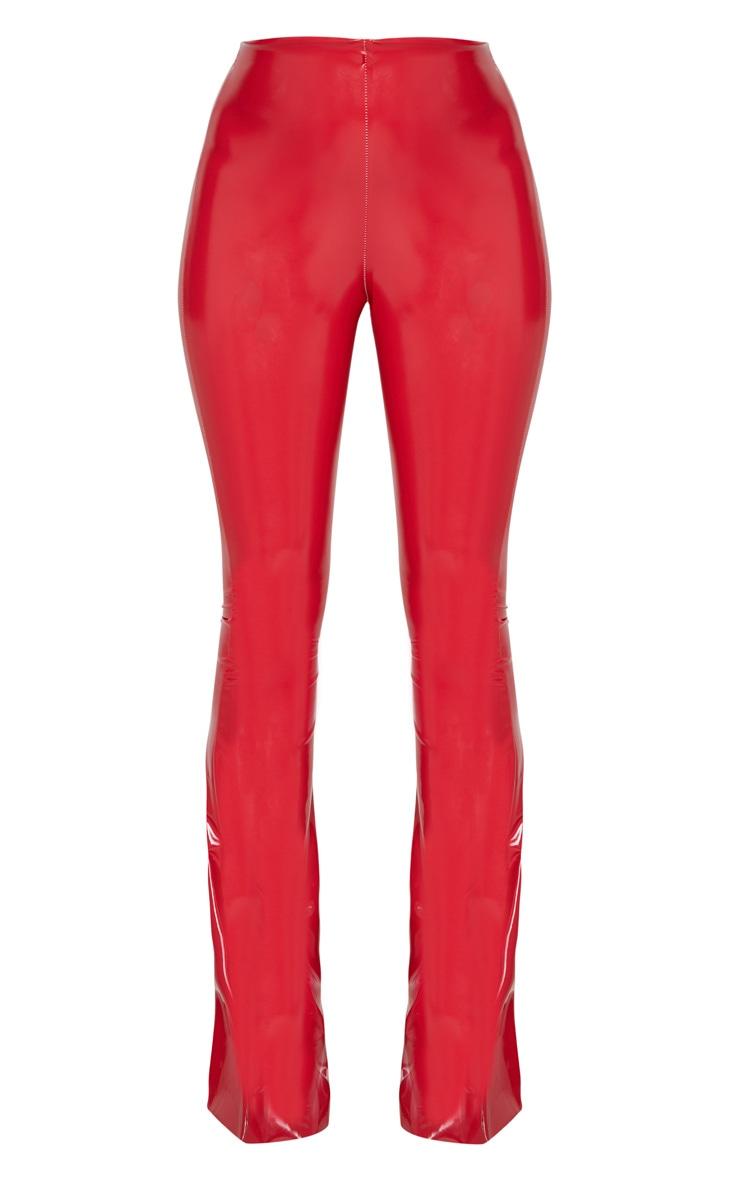 Red Vinyl High Waisted Flare Leg Trouser 3