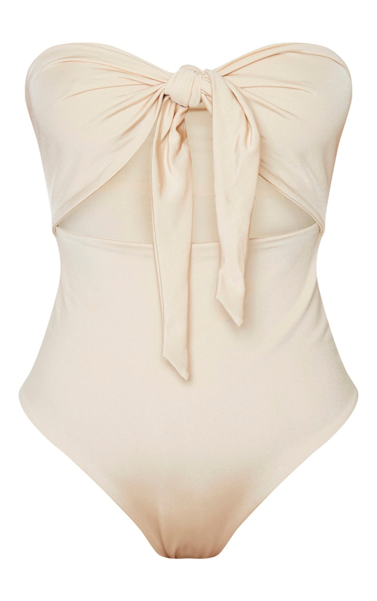 Nude Bow Front Cut Out Swimsuit 3
