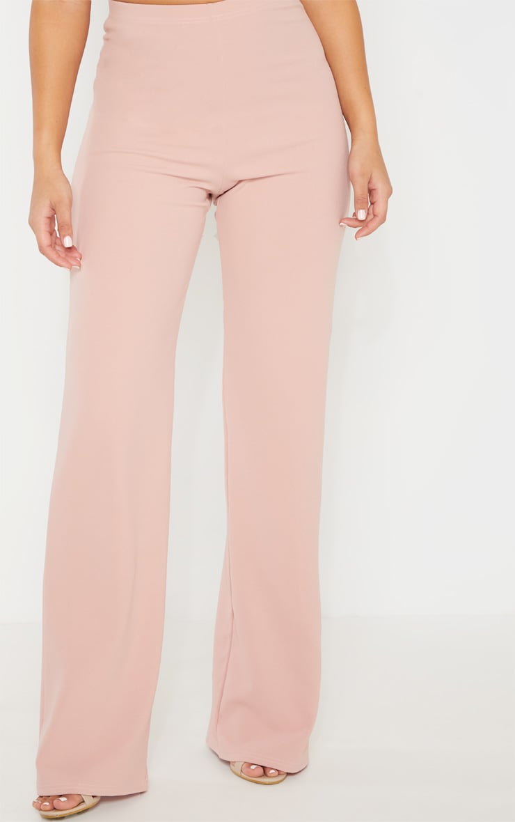 Dusty Pink Crepe High Waisted Wide Leg Pants 2