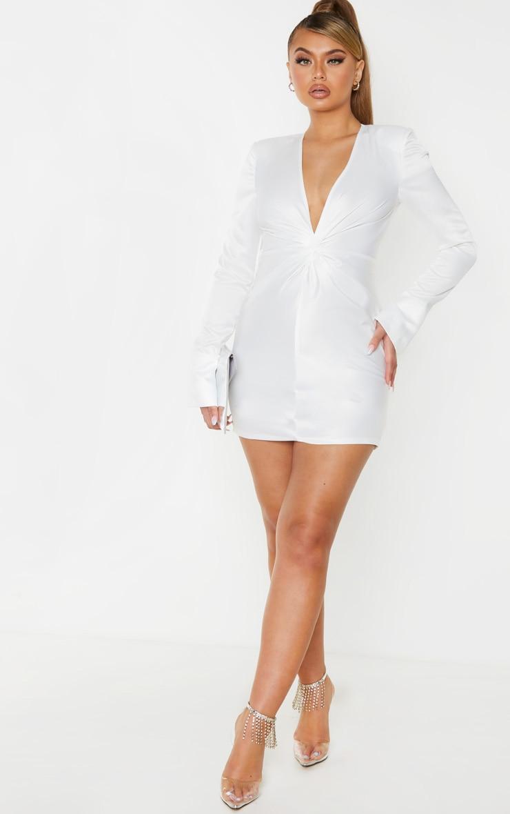 White Satin Twist Front Bodycon Dress 4
