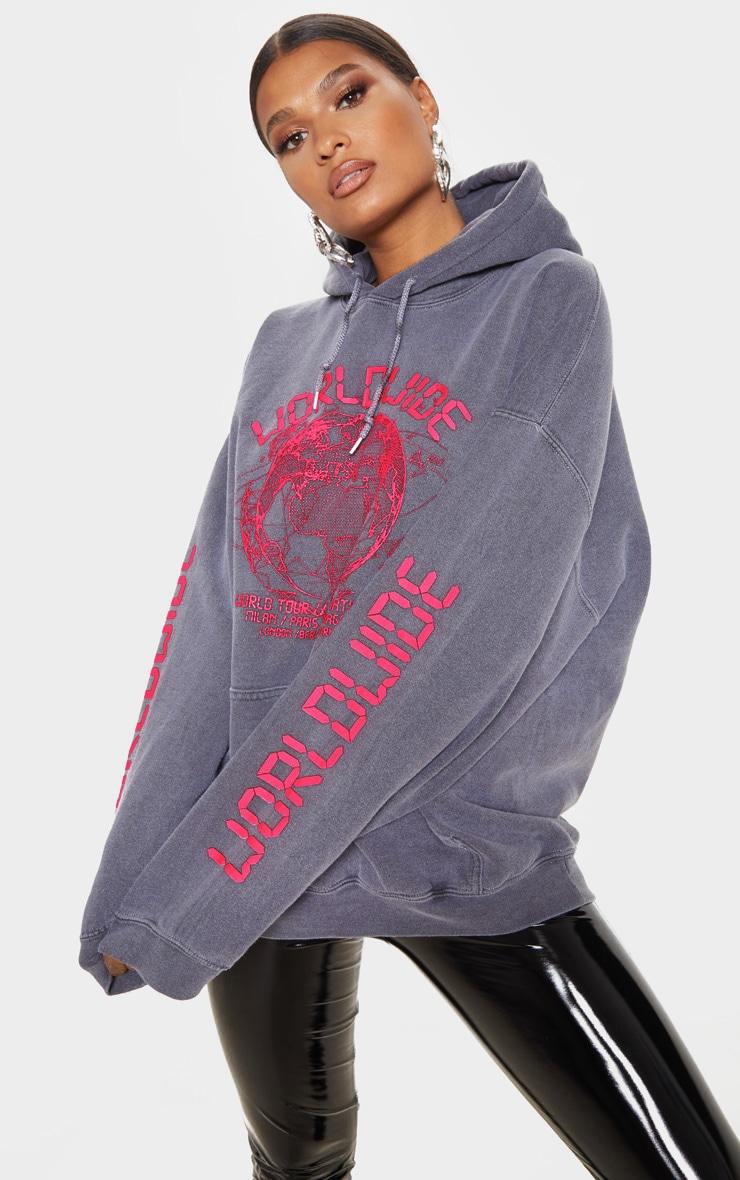 Grey Worldwide Slogan Oversized Hoodie