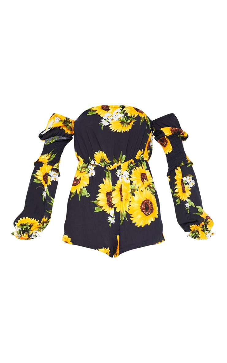 Navy Sunflower Bardot Playsuit 3
