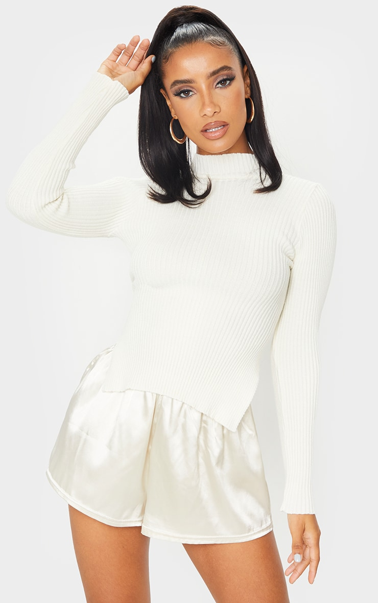 Cream Tie Back Knitted High Neck Top 3