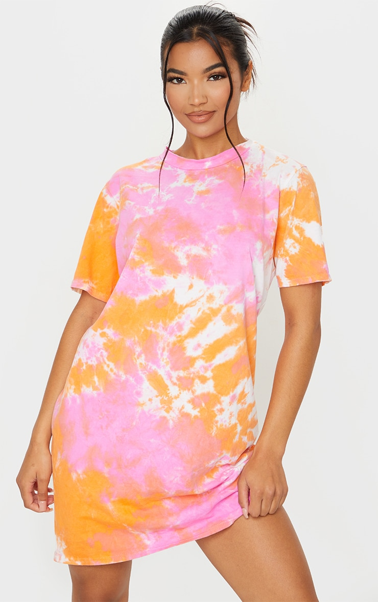 Orange Tie Dye T Shirt Dress 1