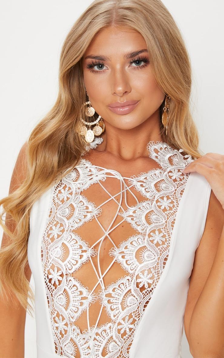 White Lace Up Lace Trim Swimsuit 6