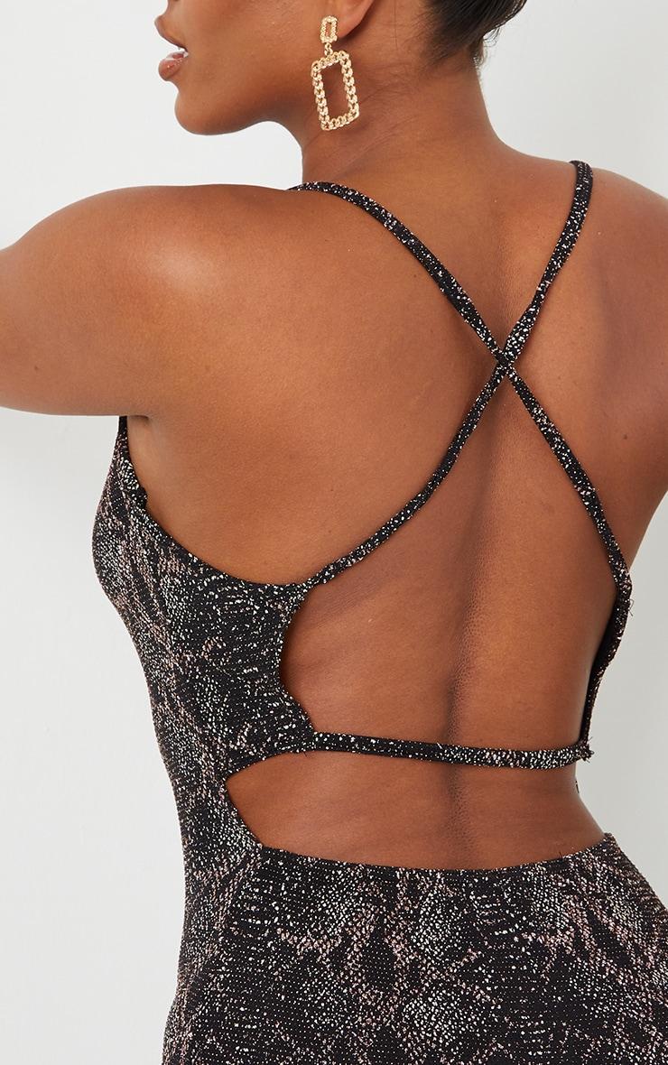 Multi Snake Print Glitter Strappy Bodycon Dress 4