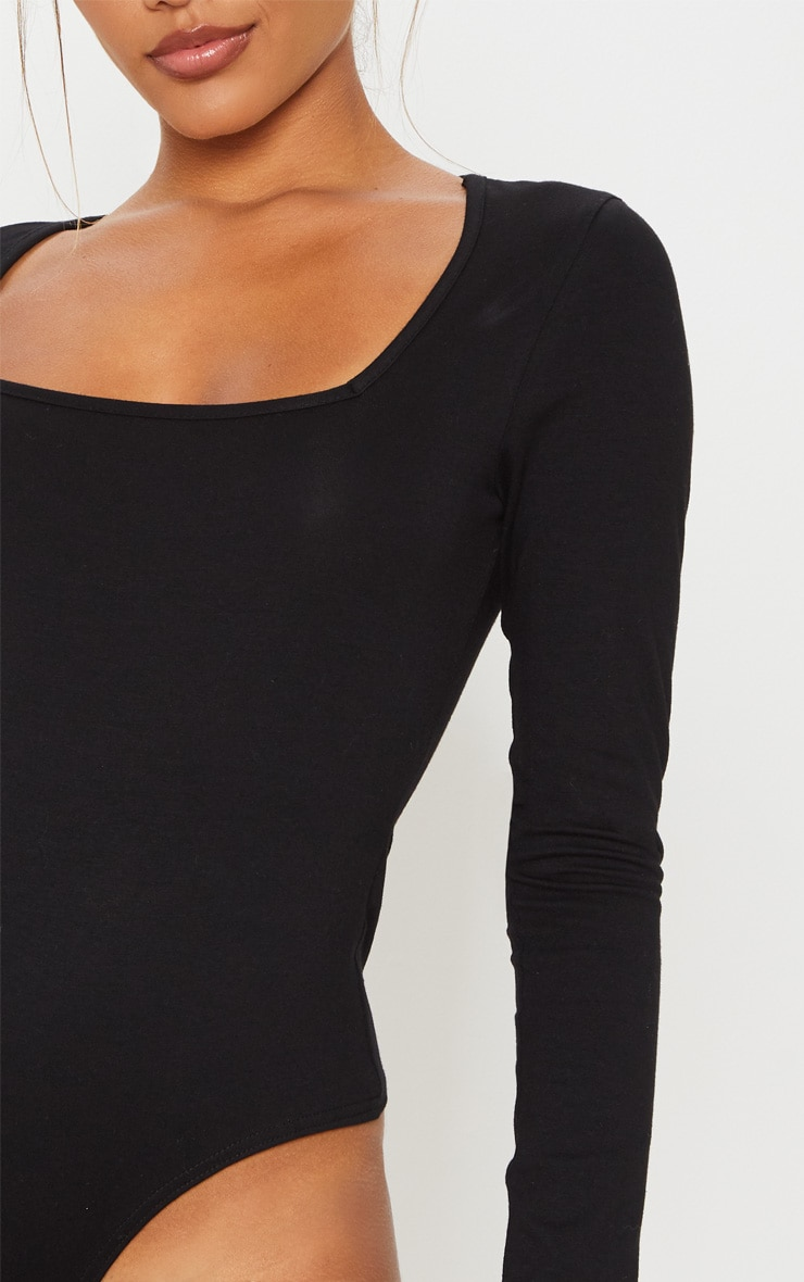 Black Cotton Square Neck Long Sleeve Bodysuit 6