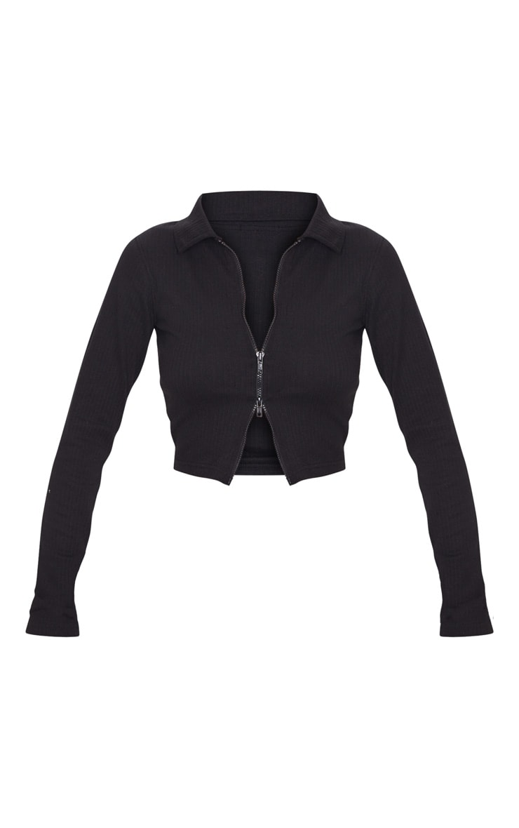 Black Jumbo Rib Collar Double Zip Top 3