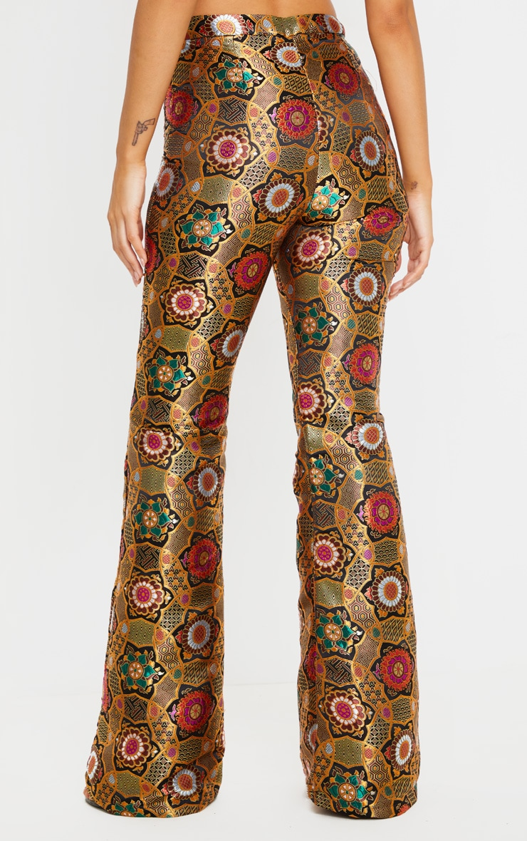 Gold Jacquard High Waisted Flared Trousers 4